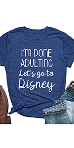 I'm Done Adulting Shirt for Women Funny Summer O Neck Short Sleeve Tops