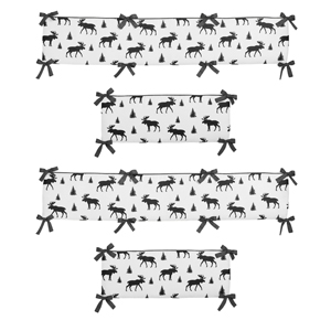 Grey, Black and White Woodland Moose Baby Crib Bumper Pad for Rustic Patch Collection