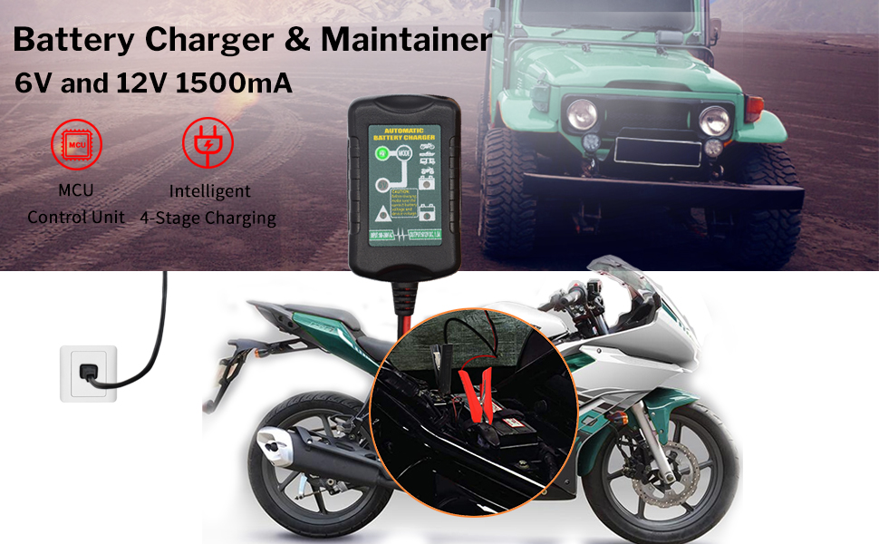Snowmobile Motorcycle Boat,Lawn Mower ATV and More 12V 5A Automotive Smart Battery Charger Maintainer SUV Lead Acid Batteries Pulse Repair for Car