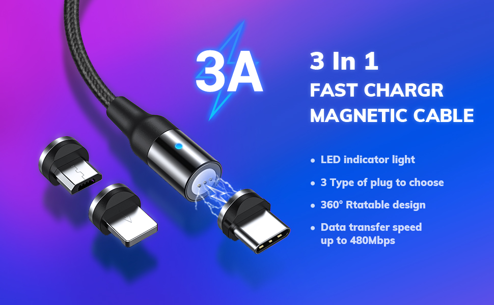 Multi Charging Cable Portable 3 in 1 Stripes Background USB Power Cords for Cell Phone Tablets and More Devices Charging