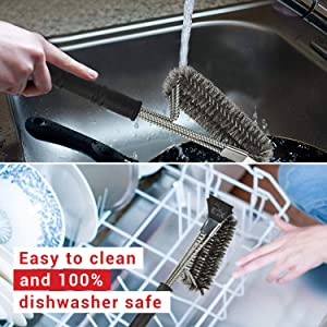 easy to clean bbq grill brush