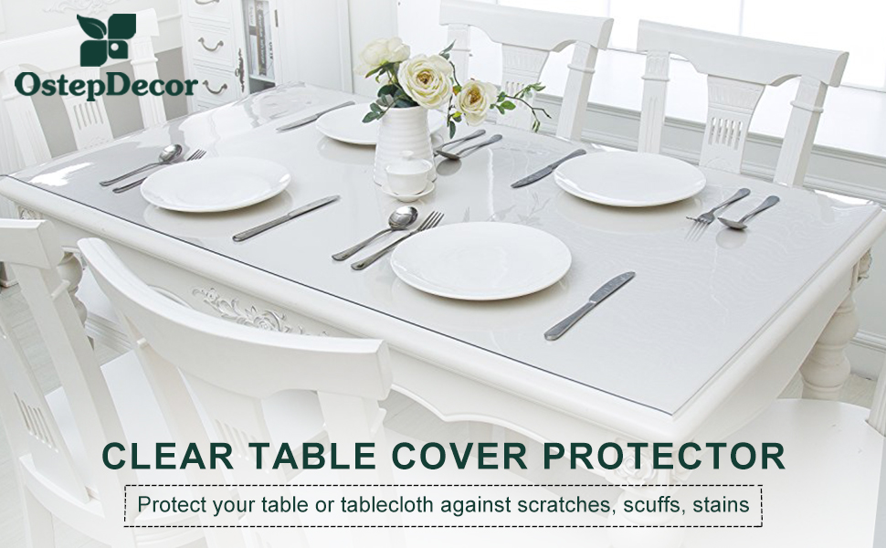 No Plastic Smell Clear Table Cover Protector Clear Desk Pad Heavy Duty Desk Top Cover OstepDecor Upgraded Version 1.5mm Thick Clear Desk Cover Clear Desk Protector Mat 36 x 20 Inch