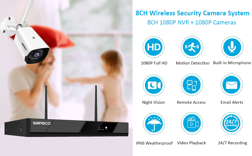 SANSCO 8CH Wireless 1080P Full HD Security NVR System