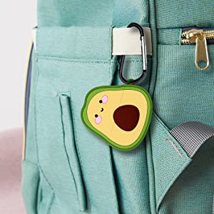 avocado AirPods Pro case hangs on backpack