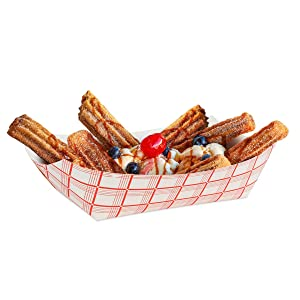 Paper Food Boats (250 Pack) Disposable Red and White Checkered Paper Food Trays
