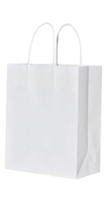 Small White 5.25*3.25*8 inch Brown 100Pcs Kraft Bags with handles