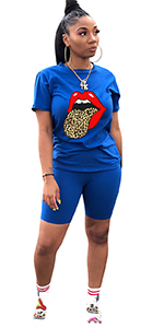 Women 2 Piece Shorts Set Lip Print Tracksuit Outfits Short Sleeve Tops and Shorts Sets Jumpsuit Blue