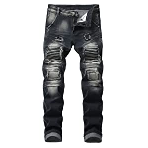Men's Ripped Slim Straight Fit black Moto Biker Jeans Zipper Deco