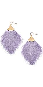 MIRMARU Fringe Tassel Silky Thread Dangle Drop Metal Hook Earrings-Drop Dangle Statement Earrings