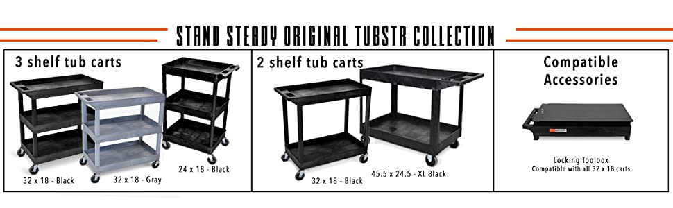Tubstr Flat shelf Utility Cart, 2 tub shelf rolling utility cart, locking toolbox mobile tub shelf