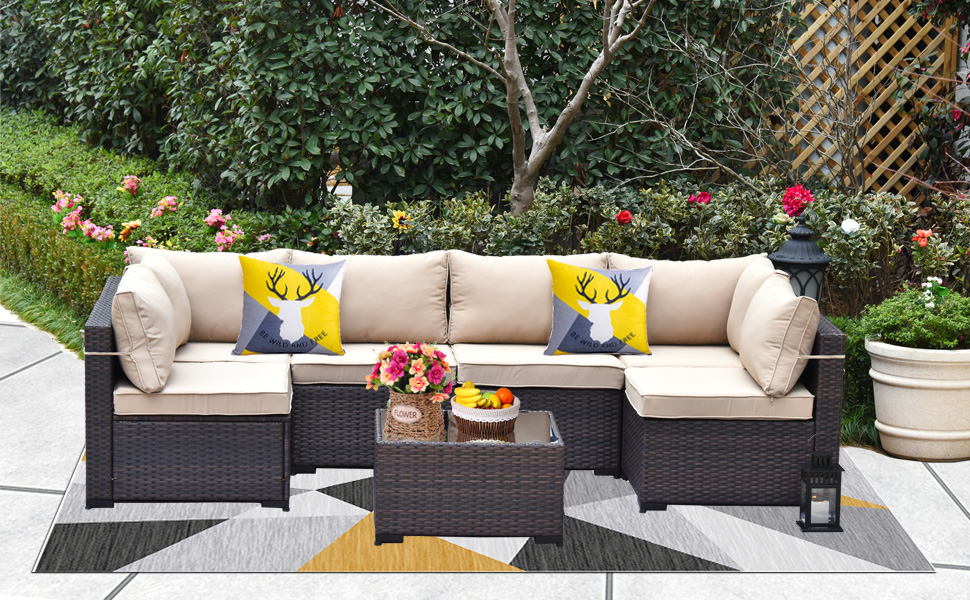 7-Pcs Patio Furniture Sofa Set Brown