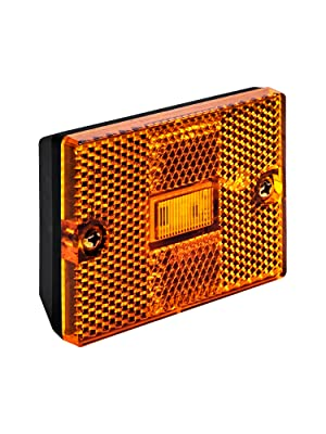 "Amber 3""x2"" Stud-Mount Reflector Clearance Marker Light"