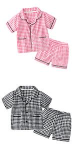 boy girl plaid pajama set pj's jammies short sleeve sleepwear for toddler little boy girl kid