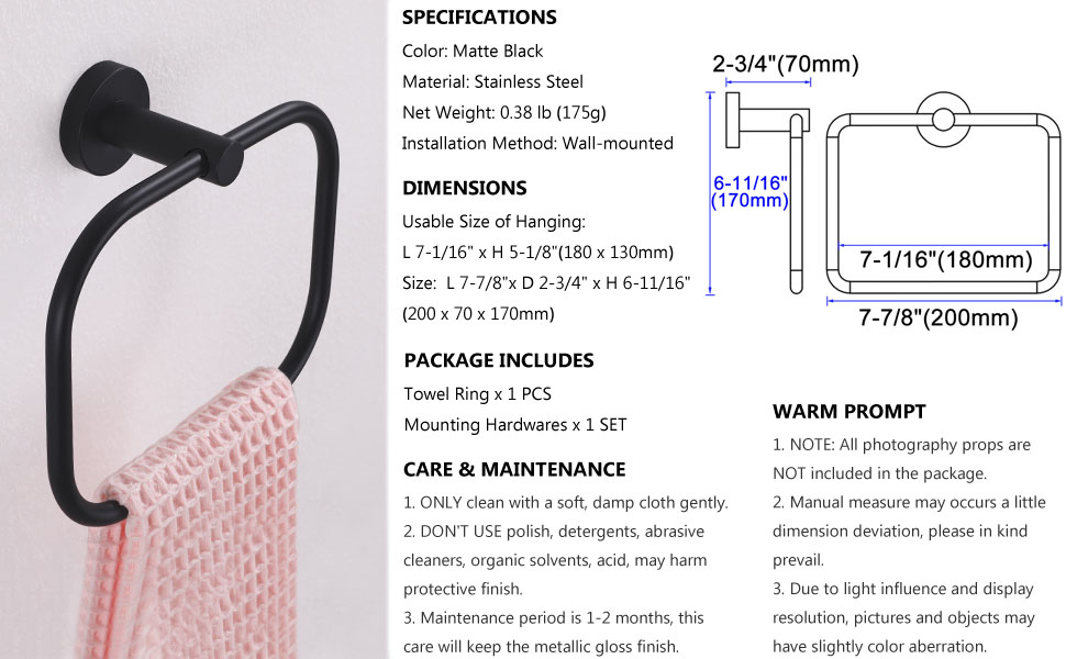 Towel Ring Specification