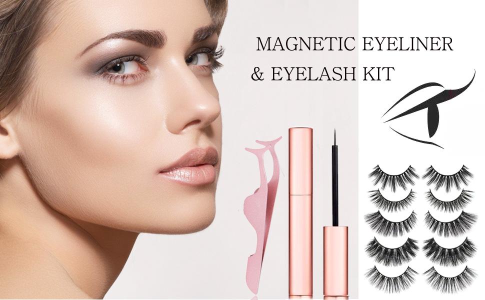 Magnetic Eyelashes, Magnetic Eyeliner With 3D Magnetic False Eyelashes Reusable Fake Eye Lashe