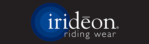 Irideon logo on a black field with concentric circles behind the letter I and the words riding wear