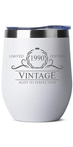 1990 30th Birthday Gifts for Women Men - 12 oz White Insulated Stainless Steel Tumbler w/ Lid - Vint