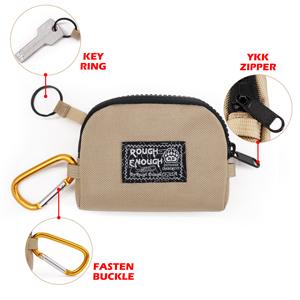 EDC mens boys coin pouch purse durable accessories contain strong YKK zipper carabiner clip key ring