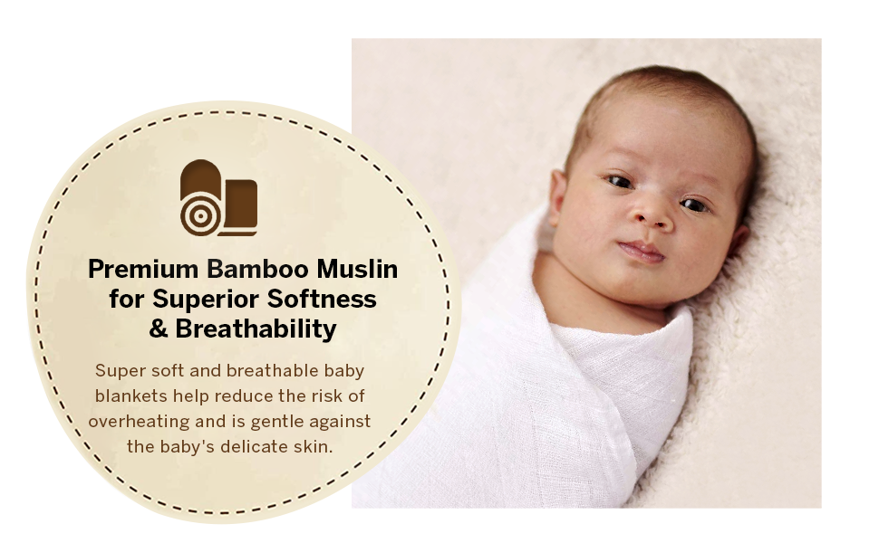 Brooklyn Bamboo Muslin Baby Swaddle White Receiving Blanket for Newborn