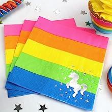 Silver Lining Rainbow Unicorn 3 ply tissue napkin with foil sparkles white unicorn gay pride LGBTQ
