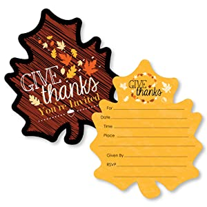 Give Thanks - Shaped Fill-in Invitations - Thanksgiving Party Invitation