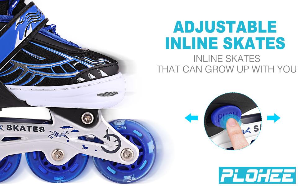 Children's Inline Skates, Skateboard Inline Skatings, Adjustable Inline Skates with Light Up Wheels