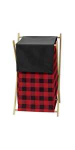 Sweet Jojo Designs Woodland Buffalo Plaid Baby Kid Clothes Laundry Hamper - Red and Black Lumberjack