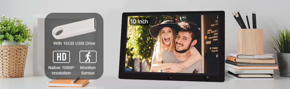 "10"" Inch Digital Photo Electronic Picture Frame Full HD 1080P IPS Screen Display Motion Sensor Gift"
