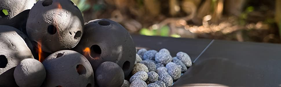 hollow fire balls ceramic firepit indoor outdoor fire place modern hand picked