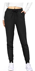 Drawstring Cotton Sweatpants Joggers for Women Sports Tapered Pants Pocket