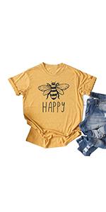 Vintage Happy Bee T Shirt Women Short Sleeve Retro Graphic Casual Tshirt Tees