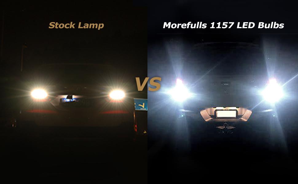 Stock lamp vs 1157 led bulbs