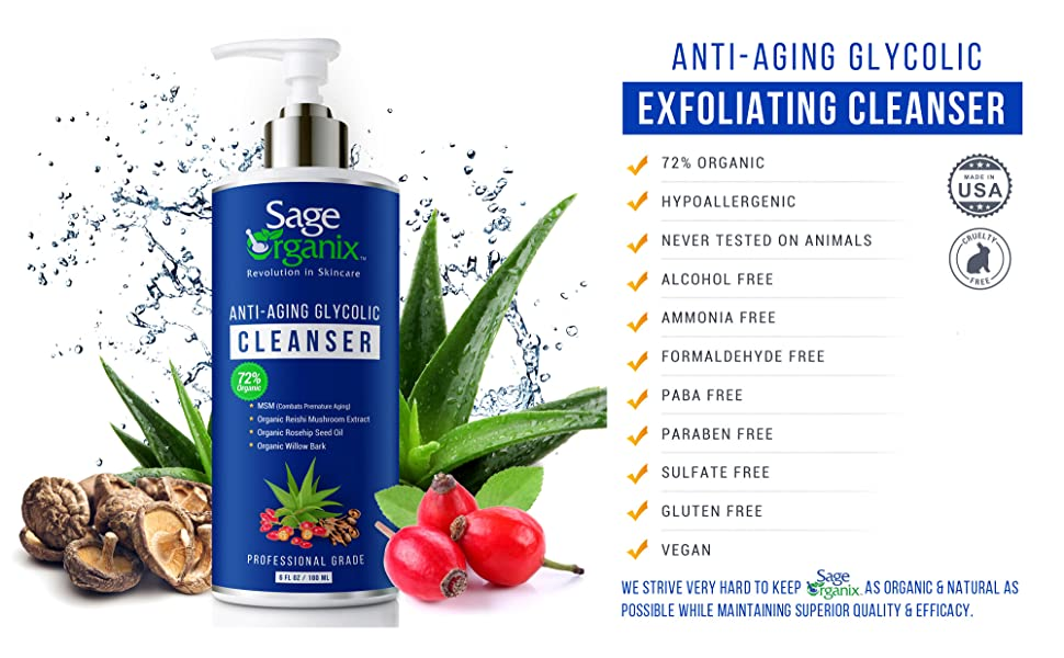 Sage Organix Cleanser Wash Makup Remover Organic Natural Anti Aging Glycolic Exfoliating Cleanser
