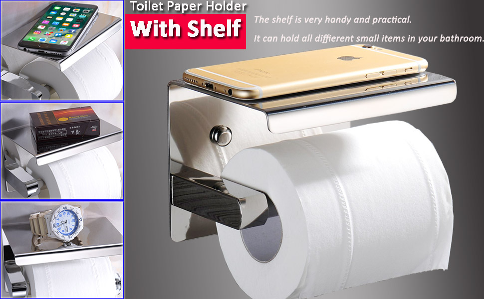 Chrome Toilet Paper Holder with Shelf