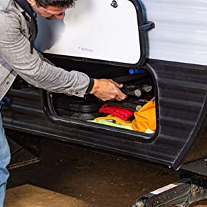 Fits securely on a trailer frame or in an external storage space.