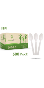 Compostable Biodegradable Bulk Size Spoons Disposable Silverware Utensils Cutlery