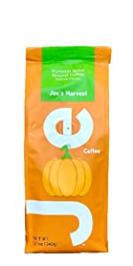 Fall orange package. Delicious gourmet ground pumpkin spice flavored coffee