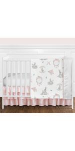 Blush Pink and Grey Woodland Boho Dream Catcher Arrow Gray Bunny Floral Baby Girl Crib Bedding Set