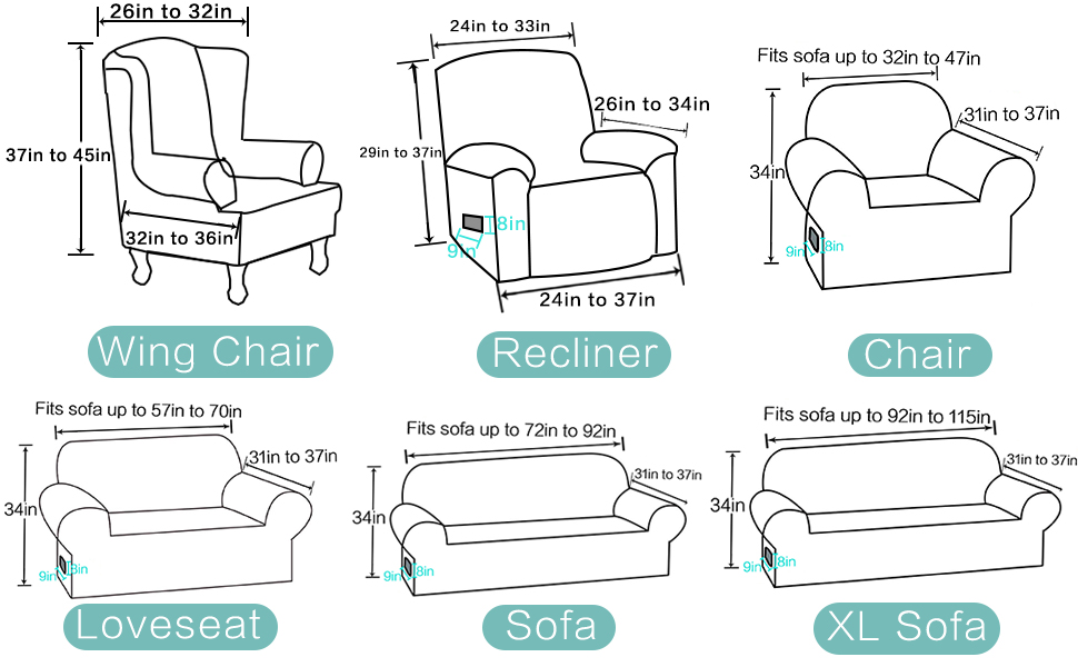sofa chair cover size