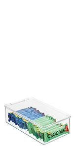 Plastic Cabinet Fridge Deep Organizer Snack Produce Pasta Packet quart liter small large slim Narrow