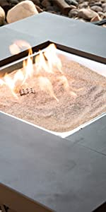 Silica sand base layer outdoor fire pit place