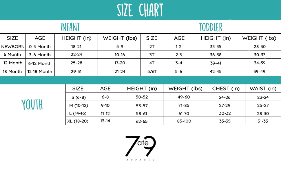 7 ate 9 apparel size chart