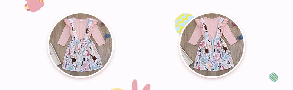 solid peach pink color top shirt+rabbit floral suspender skirt set for easter girl