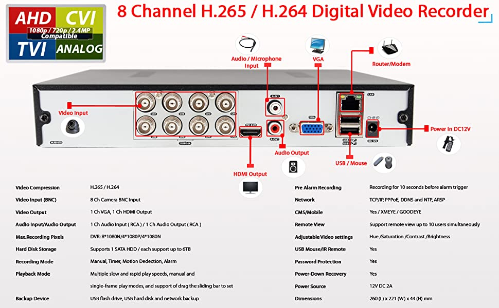 8 camera dvr 8 channel camera 8 channel dvr recorder 8 channel security dvr with hard drive