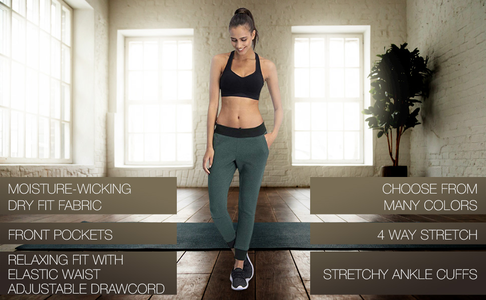 Dry Fit Sweatpants for Women Loose Fitting Yoga Crop Joggers Lounge Pants