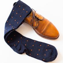 Orange Polka Dots on Navy Over the Calf Dress Socks