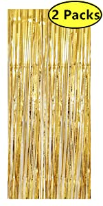 Rose Gold Metallic Tinsel Foil Fringe Curtains for Party Photo Backdrop Curtain