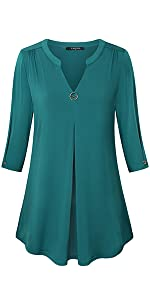 Pleated Front Tunic Shirt for Spring