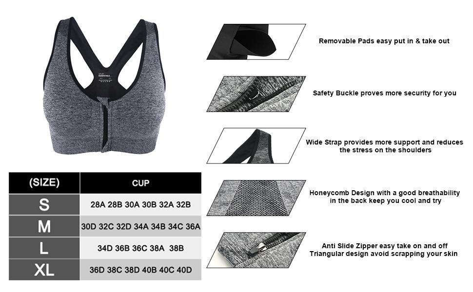 no-chafe no-sweat, no-bounce,no burden, comfortable and fashionable compression bra