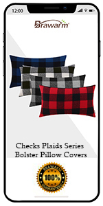 Classical Plaids Bolster Pillow Covers